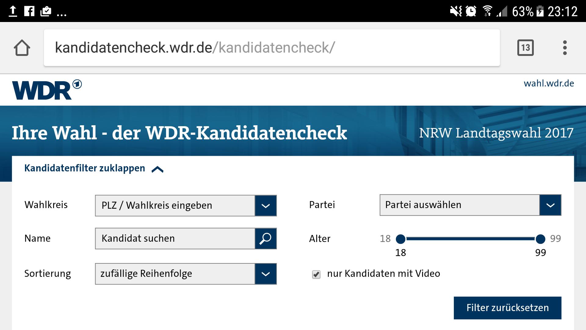 Screenshot WDR-Kandidatencheck